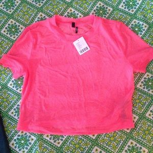 NWT urban outfitters neon mesh crop top XS M